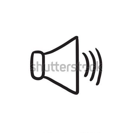 Stock fotó: Hangszóró · hangerő · rajz · ikon · vektor · izolált