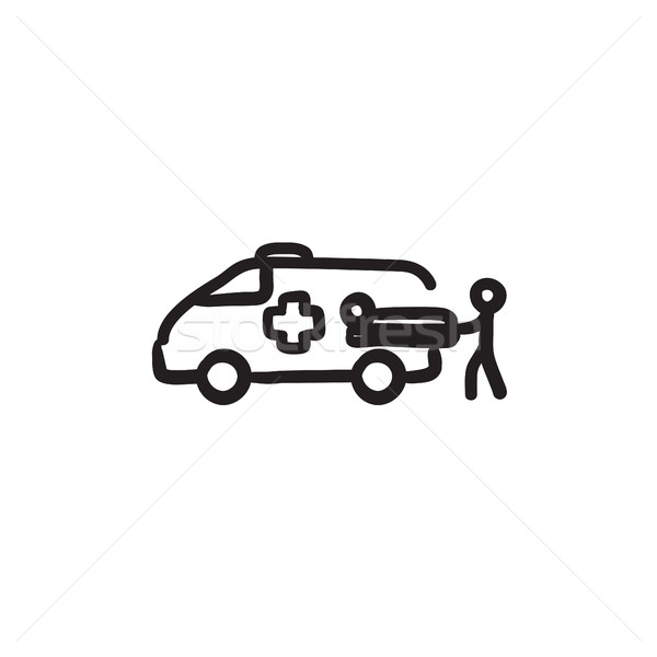 Stock photo: Man with patient and ambulance car sketch icon
