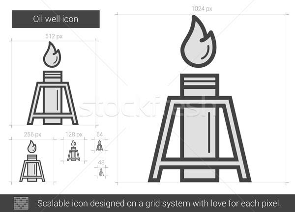 Olajkút vonal ikon vektor izolált fehér Stock fotó © RAStudio
