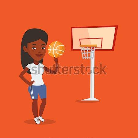 Fiatal kosárlabdázó labda kaukázusi sportoló kosárlabda Stock fotó © RAStudio