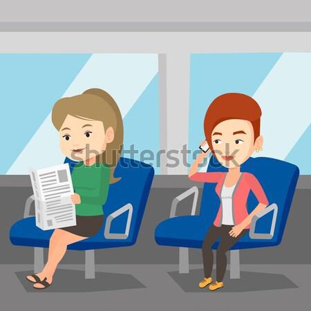 人 公共交通機関 少女 携帯電話 女性 ストックフォト © RAStudio