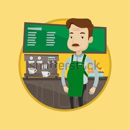 Barista em pé trabalhando café jovem Foto stock © RAStudio