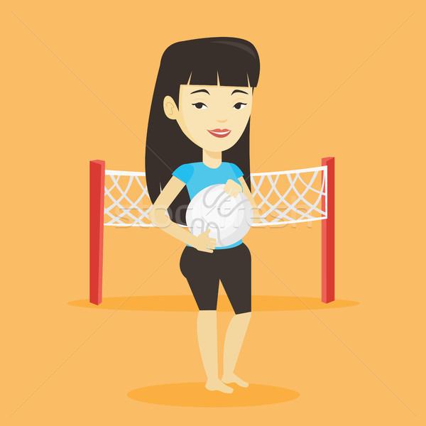 Foto stock: Praia · voleibol · jogador · asiático · sorridente