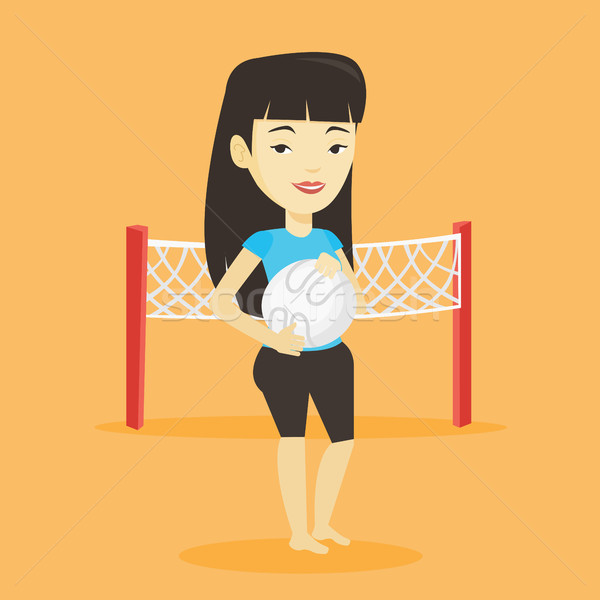 Strand volleybal speler asian glimlachend Stockfoto © RAStudio