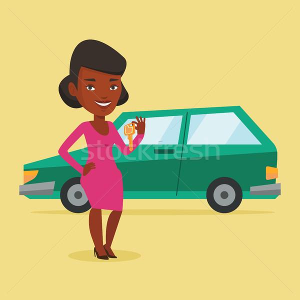 женщину ключами Новый автомобиль молодые счастливым Сток-фото © RAStudio