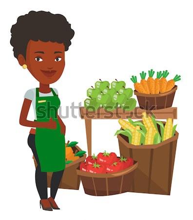 Сток-фото: дружественный · супермаркета · работник · большой · палец · руки · вверх · молодые