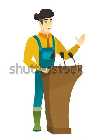 Politician giving a speech from tribune. Stock photo © RAStudio