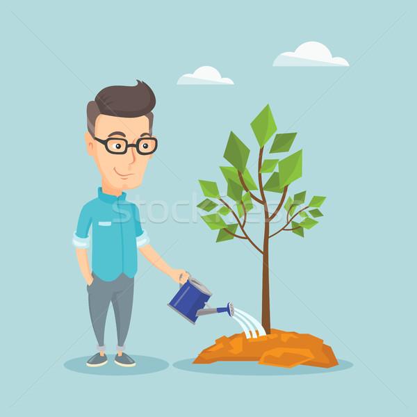 Hombre árbol caucásico amistoso jardinero Foto stock © RAStudio