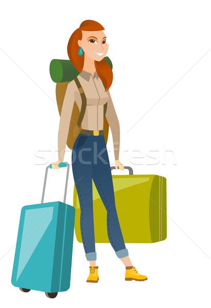 Jonge kaukasisch vrouw reiziger veel koffers Stockfoto © RAStudio