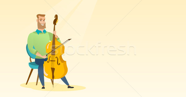 Man playing the cello vector illustration. Stock photo © RAStudio