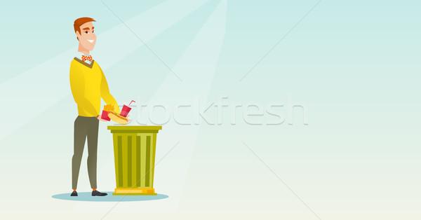 Man throwing junk food vector illustration. Stock photo © RAStudio