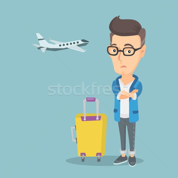ストックフォト: 男 · 恐怖 · 飛行 · 白人 · 飛行機