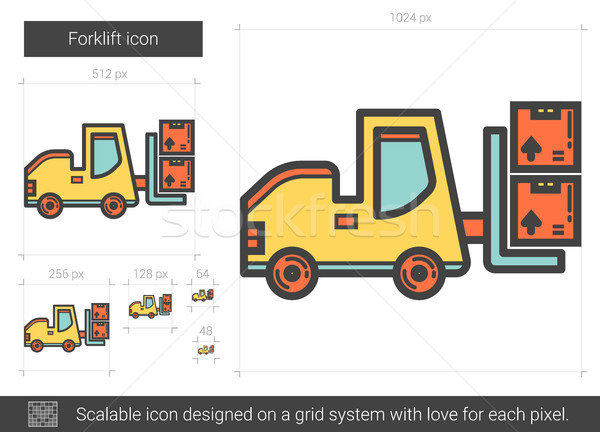 Forklift line icon. Stock photo © RAStudio