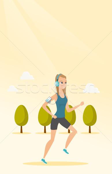 Stockfoto: Jonge · man · lopen · smartphone · kaukasisch · vrouw