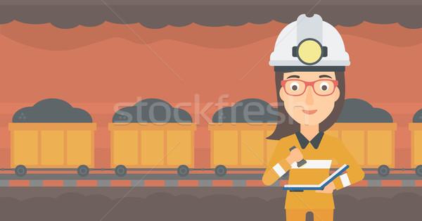 Documenten vrouw papier plan mijnbouw tunnel Stockfoto © RAStudio