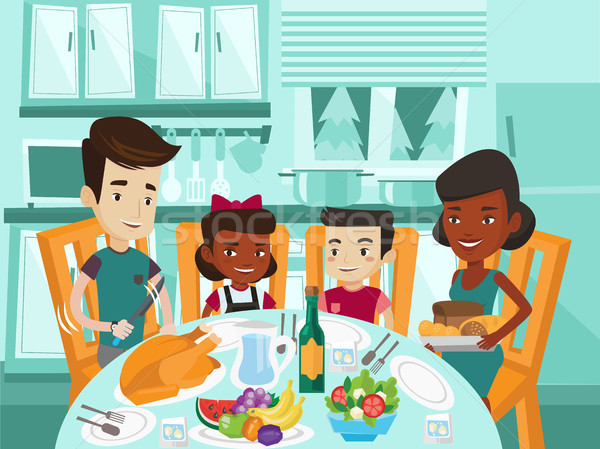 Multicultural family celebrating thanksgiving day. Stock photo © RAStudio