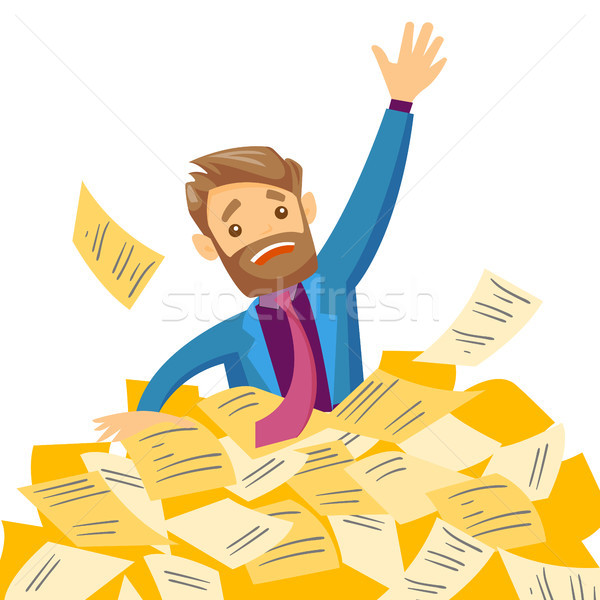 Stressed businessman sinking in the heap of papers Stock photo © RAStudio