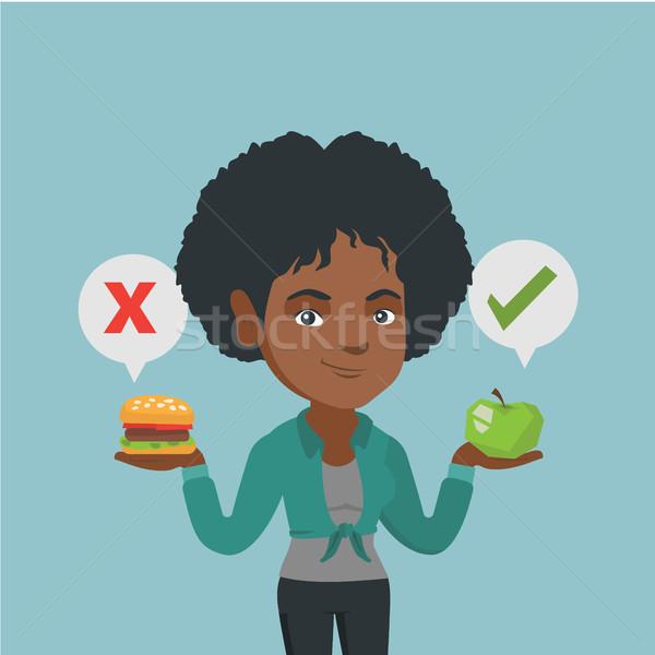 Kobieta hamburger młodych Afryki Zdjęcia stock © RAStudio