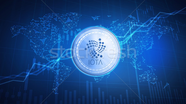 IOTA cash coin on hud background with bull stock chart. Stock photo © RAStudio