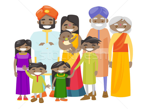 Happy extended indian family with cheerful smile. Stock photo © RAStudio
