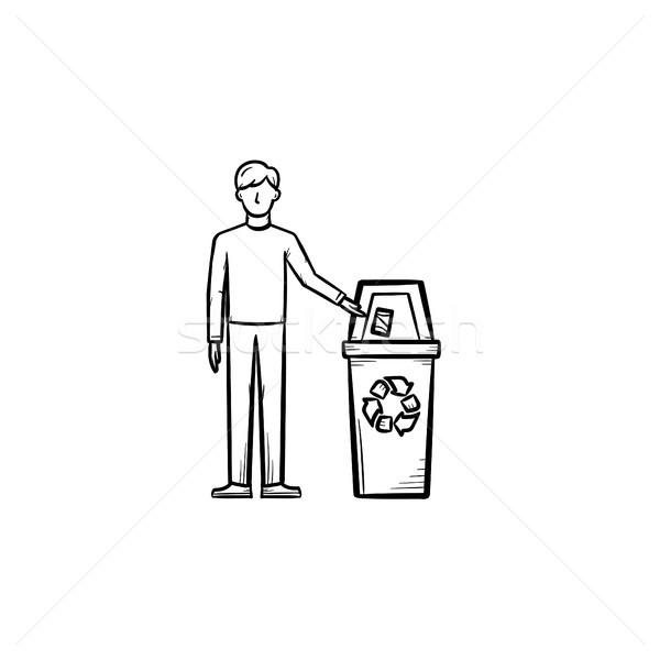 Człowiek śmieci kosza Zdjęcia stock © RAStudio