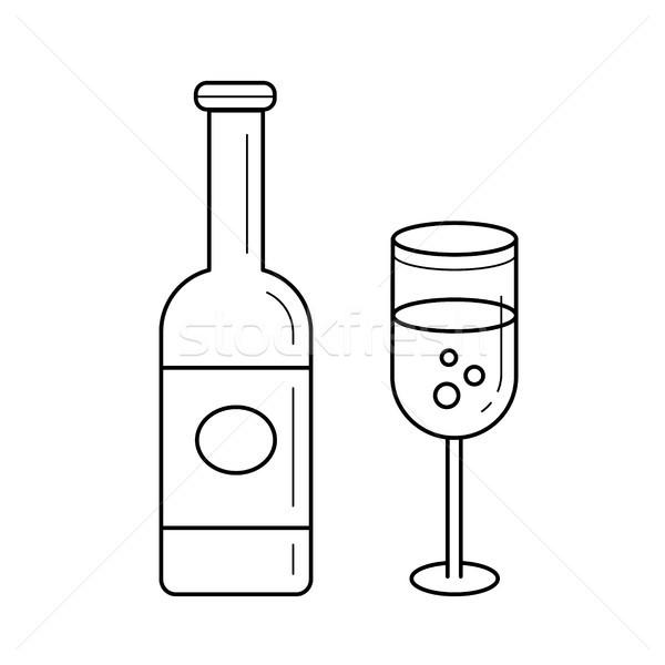Sparkle wine bottle vector line icon. Stock photo © RAStudio