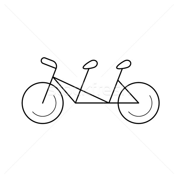 Stock photo: Tandem bicycle vector line icon.