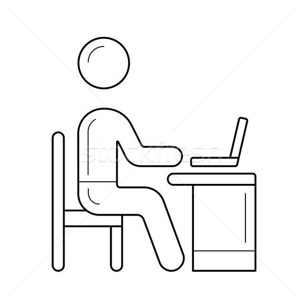 Werken persoon vector lijn icon geïsoleerd Stockfoto © RAStudio