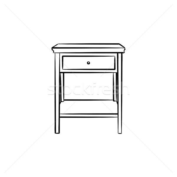 Asztali polcok kézzel rajzolt rajz ikon skicc Stock fotó © RAStudio
