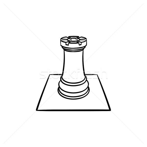 Szachownica rysunku szkic ikona Zdjęcia stock © RAStudio