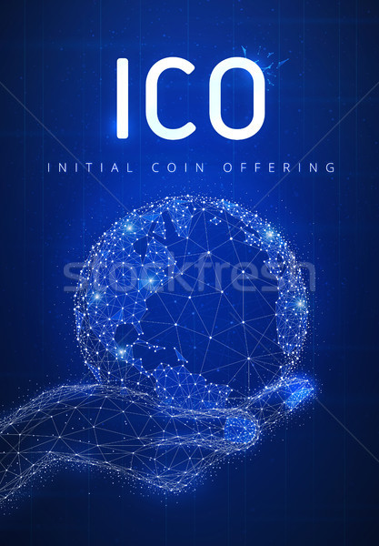 ICO initial coin offering futuristic hud banner with globe in a  Stock photo © RAStudio
