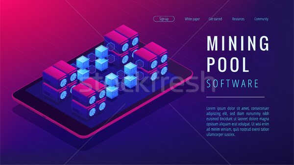 Isometric mining pool landing page concept. Stock photo © RAStudio