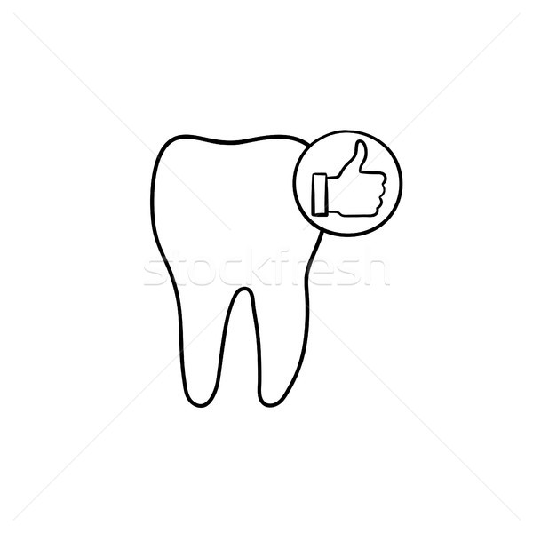 Tooth health and stomatology hand drawn outline doodle icon. Stock photo © RAStudio