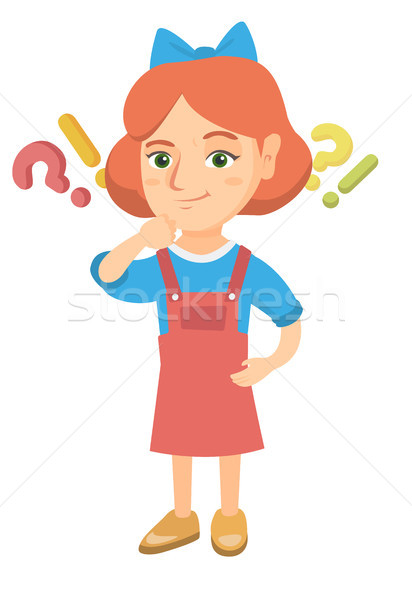 Girl standing under question and exclamation mark Stock photo © RAStudio