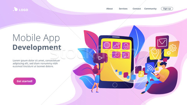 Mobile application development vector illustration Stock photo © RAStudio