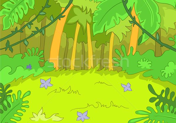 Clareira desenho animado eps 10 árvore verde Foto stock © RAStudio