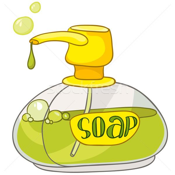 Stock foto: Karikatur · home · Waschraum · Seife · isoliert · weiß