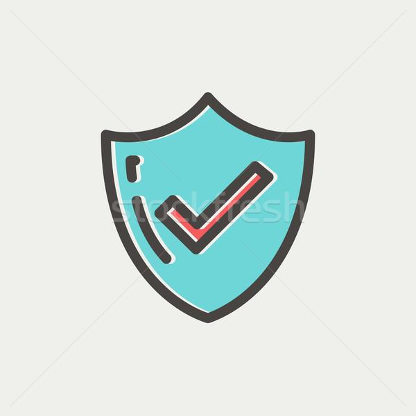 Bestseller gegarandeerd badge dun lijn icon Stockfoto © RAStudio