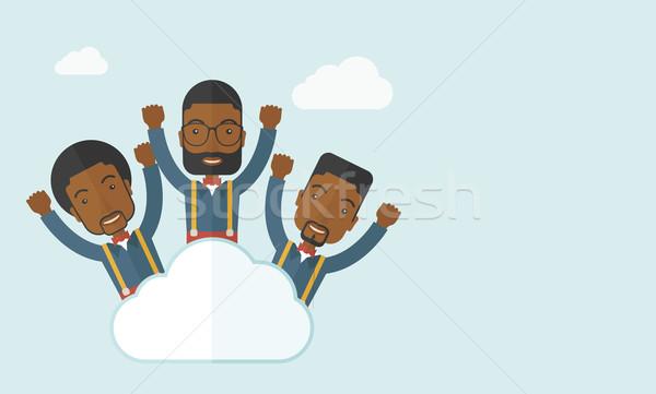 Três feliz empresários nuvem topo brasão Foto stock © RAStudio