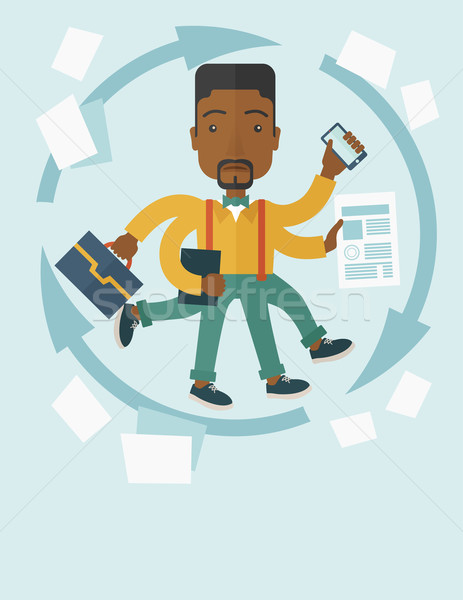 Nero ragazzo multitasking lavoro uomo molti Foto d'archivio © RAStudio