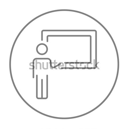 Professor in front of a blackboard thin line icon Stock photo © RAStudio