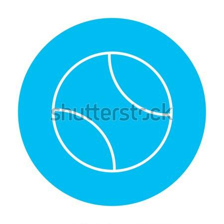 Tennisbal dun lijn icon web mobiele Stockfoto © RAStudio