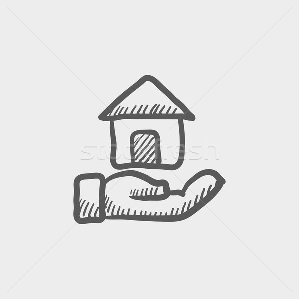 Hand owned the house sketch icon Stock photo © RAStudio
