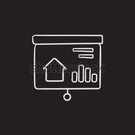 Bemutató projektor képernyő ikon rajzolt kréta Stock fotó © RAStudio