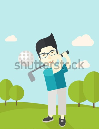 Jogador de golfe homem caucasiano barba bola campo Foto stock © RAStudio