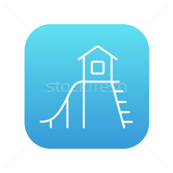 Stock photo: Playhouse with slide line icon.