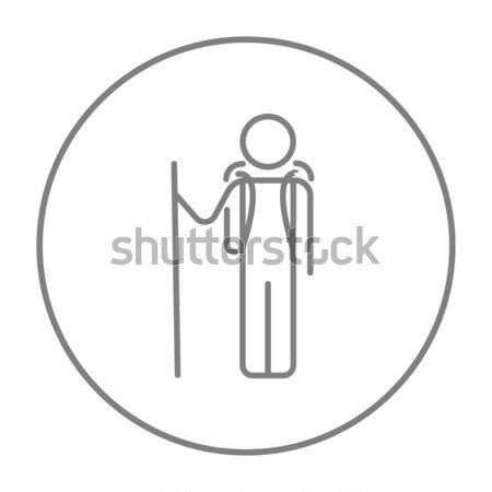 Tourist backpacker line icon. Stock photo © RAStudio