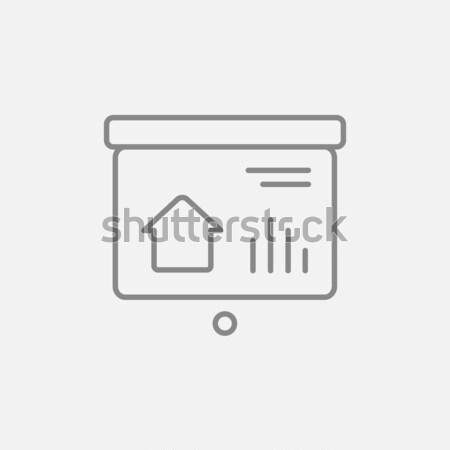 Bemutató projektor képernyő vonal ikon háló Stock fotó © RAStudio