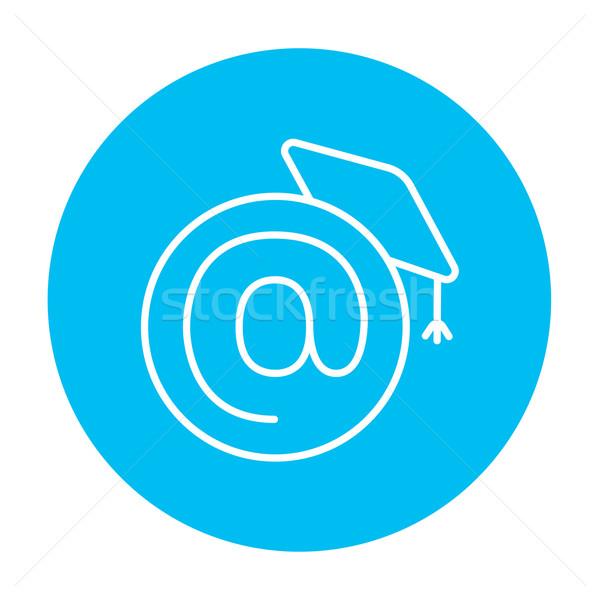 érettségi sapka felirat vonal ikon háló Stock fotó © RAStudio