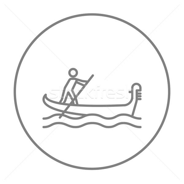 Denizci kürek çekme tekne hat ikon web Stok fotoğraf © RAStudio